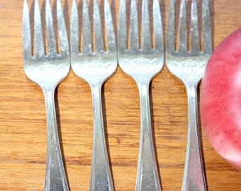 Four Princess Lady Doris Salad Forks -- International Silver, Silverplate -- Scroll, Floral
