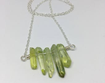 Green Crystal and Silver Bar Necklace