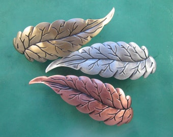 Leaf French Barrette 60mm-Hair Accessories- Hair Clips- French Clips- Small French Barrette
