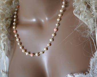 Chain Bamboo coral freshwater pearl wire wrap gold filled jewelry wire
