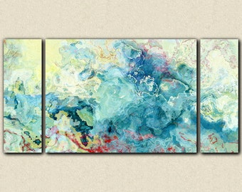 """Oversize triptych abstract art stretched canvas print, 30x60 to 40x78 in aqua, from abstract painting """"Cool as a Cucumber"""""""