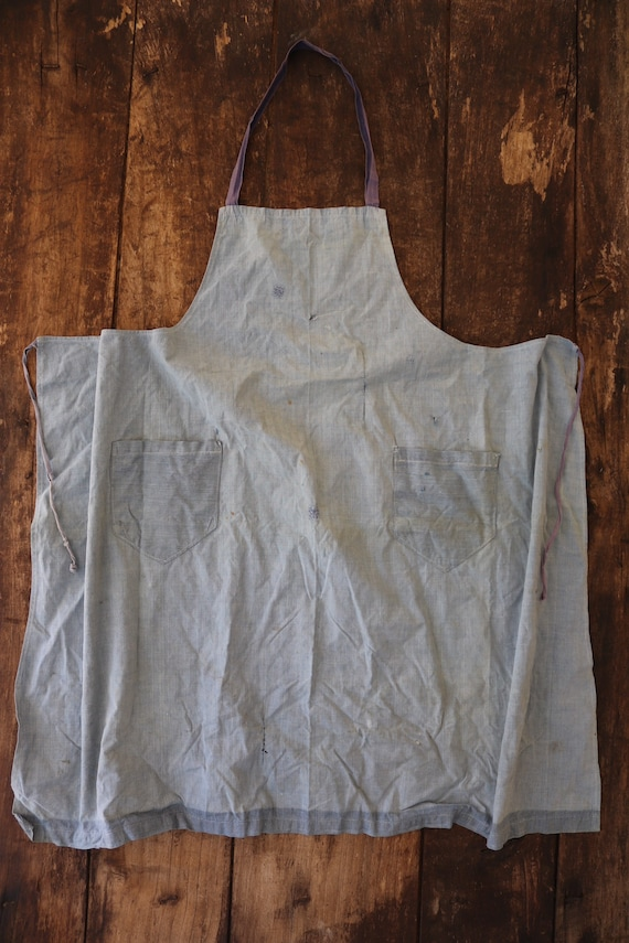 """Vintage french pale blue cotton apron workwear work chore darned repaired sun faded 32"""" x 33"""""""