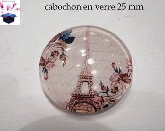 1 cabochon in. curved glass 25mm vintage eiffel tower theme