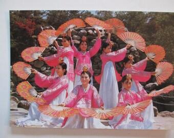 10 KOREAN POSTCARDS, Set of vintage, collectible, Korean customs, dancers, shepherds, marriage, weavers unused