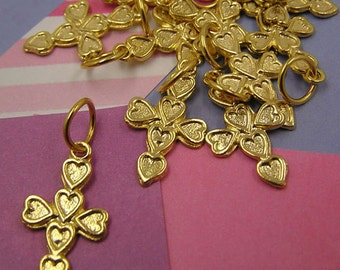 027 Gold Cross of Hearts Charms