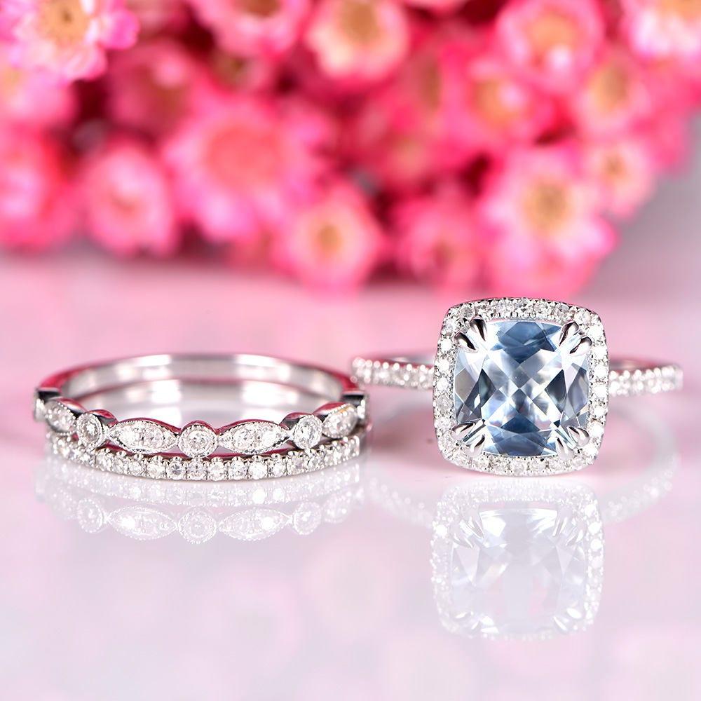 Aquamarine ring set natural aquamarine engagement ring 8mm