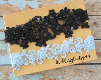 Wedding Garter Set, Black Lace and Light Blue Lace Wedding Garter Set, Bridal Garter Belt, Prom Garter / GT-44