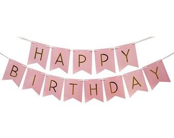happy birthday banner pastel pink colour gold banner girl banner birthday garlands