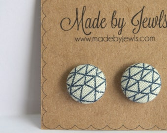 Navy Blue and White Geometric Diamond Handmade Fabric Covered Hypoallergenic Button Post Stud Earrings 10mm