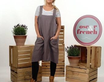 Linen Pinafore Apron - Cross Back Apron - Linen Apron - Japanese Apron - Linen Tunic - Linen Dress - Artists Apron - Kitchen Apron