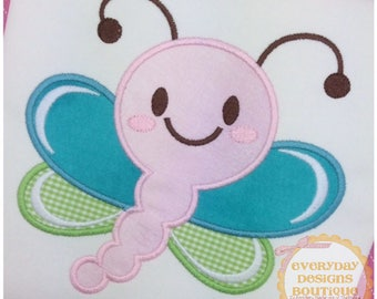 Smiling Dragonfly Machine Embroidery Applique Design