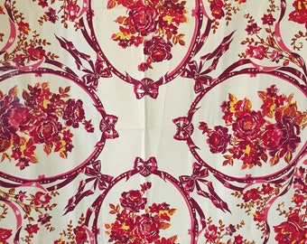 "Vintage 1950s Tablecloth~49"" x 49""~Bright Dark Maroon & Pink Roses~Bows~EUC!"