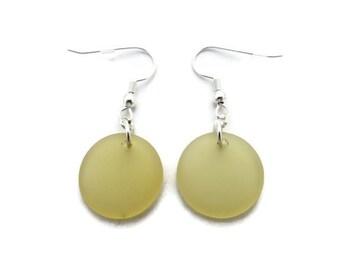 Yellow Sea Glass Earrings, Round Yellow Earrings, Yellow Beach Glass Earrings, Recycled Glass, Pale Yellow Dangles, Lemon Drop Earrings