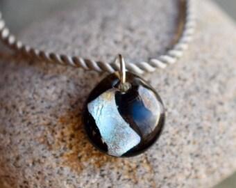 Dichroic Glass Pendant Boro Lampwork on Braided Satin Cord - Silver