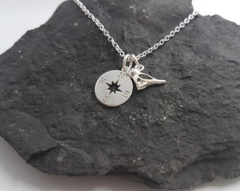 Sterling Silver Necklace. Travel, Compass, Sparrow, Bird.
