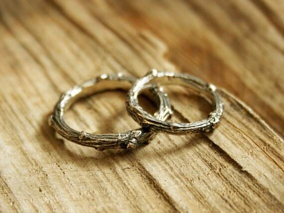 Silver Twig Wedding Rings Rustic Wedding Rings Commitment
