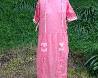 Vintage 20's 30's swiss dot Dress peach