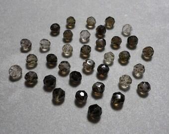 Smokey Quartz Micro Faceted Round Ball Beads 5mm - 6mm