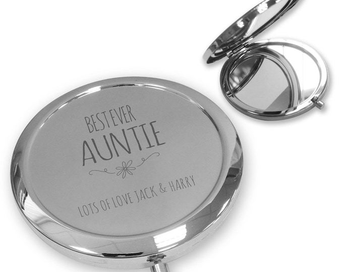 Personalised engraved AUNT AUNTIE AUNTY compact mirror gift, handbag mirror Push button, Best ever - PBWW2