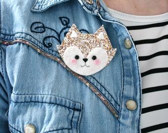 Copper Fox Glitter Brooch, Felt Pin, Fox Gift Jewellery, hannahdoodle Badge, Coat Pin