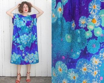 Vintage 70s Caftan   70s Monet Inspired Lily Pad Print Caftan Blue   XL