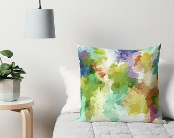 Pastel Throw Pillow, Abstract Pillow, Art Pillow, Accent Pillow, Couch Pillow, 16x16, 18x18, 20x20, 24x24, 26x26, Watercolor Pillow