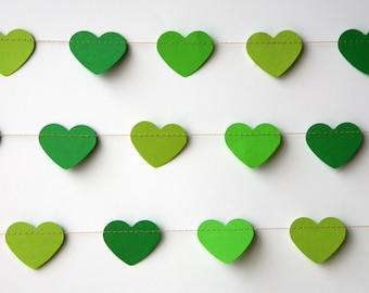 Heart garland, Green heart garland, Wedding decoration, Valentines Day, Green garland, Valentines Bunting, Valentines Photo Prop, KCO-3045