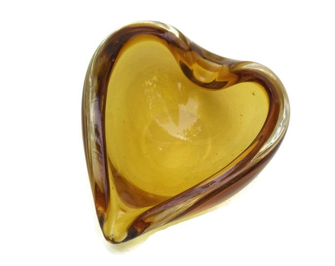 Amber Murano Glass Ashtray.