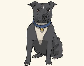 Staffordshire Bull Terrier Greetings card: Blank