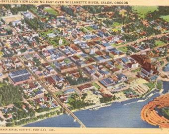 Salem, Oregon, Willamette River - Vintage Postcard - Postcard - Unused (H)