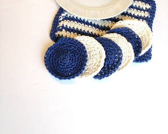 Set of trivet and coasters, blue beige nautical Pot Holder, coastal crochet washcloth, housewarming gift, dining decor, home and living