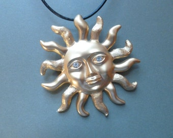 Sun Face Pin/Brooch and Pendant Combination