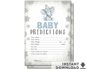 SALE ! Baby Predictions for Baby Winter Baby Shower Games Boy Baby Shower Game Printable (Instant Download) No.1087BABY