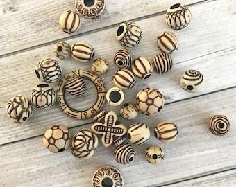 Mix of 20 Ethnic Acrylic Beads, Bead Grab Bag Assorted Bead Mix. Bead Destash, Assorted sized beads, Bead Soup