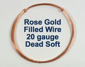 Rose Gold Filled Wire - 20ga DS Dead Soft - Choose Your Length