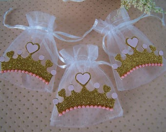 Pink and Gold Princess theme party Favor bags