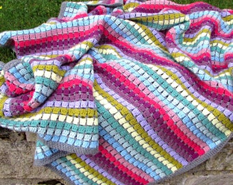 Vintage Rainbow crochet blanket kit - crochet gift - gift for crocheters - crochet throw - easy crochet - crochet present - crochet afghan