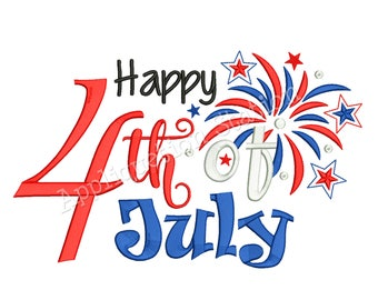 Happy 4th of July Word Art Patriotic Fireworks Machine Embroidery Design Independence Day America USA INSTANT DOWNLOAD