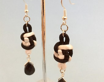 Black and White Chinese Knot Earrings with Glass Beads