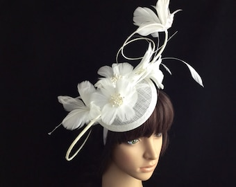 White Fascinator Headband, bridal headband