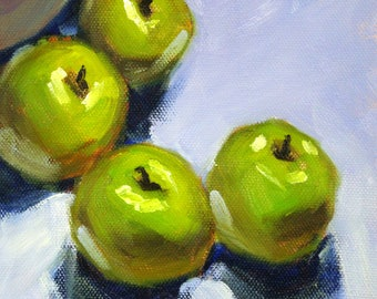 Green Apples, Still Life, Oil Painting, Original, 6x6, Canvas, Kitchen Art, Wall Decor, Small, Food Art, Fruit Painting, Blue, Green