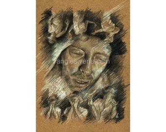 "Art Print From Original Drawing ""Lotus Flower"" A4"