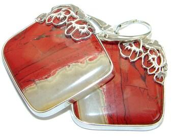 Red Jasper Sterling Silver Earrings - weight 25.30g - dim L - 1 3 4, W - 1 1 8, T - 3 16 inch - code 26-lut-18-72