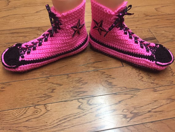 3bd2271e8f72 crocheted slippers pink converse slippers shoe top 8 tennis sneaker tops 10  high Crocheted converse slippers .