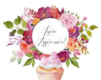 Watercolor birthday card