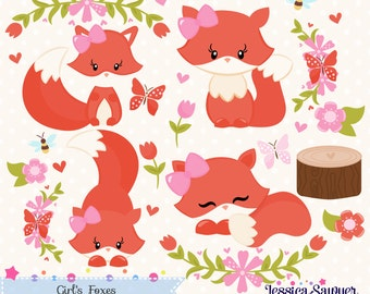 INSTANT DOWNLOAD, girls fox clipart and vectors for personal and commercial use