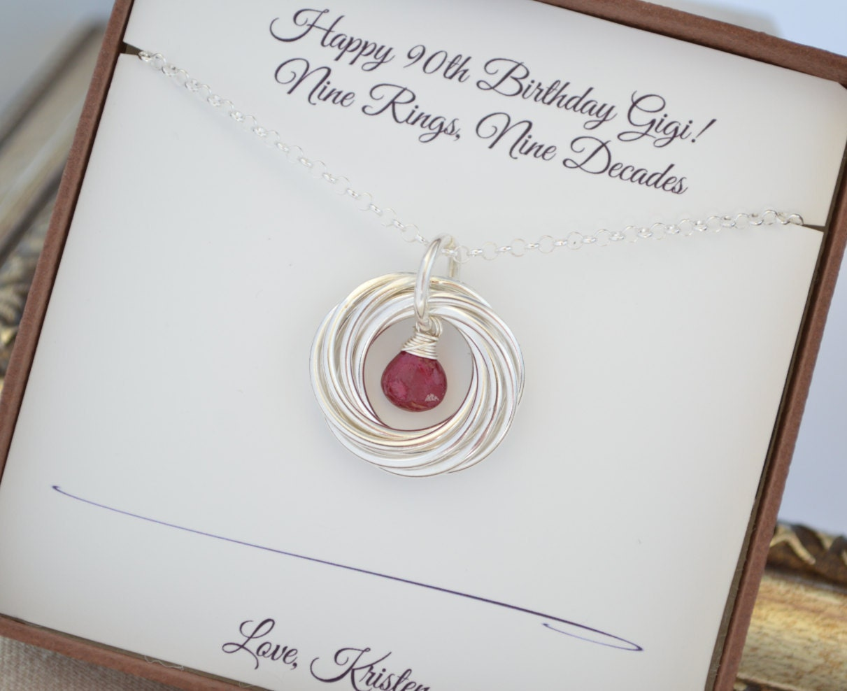 90th birthday gift for mom ruby birthstone necklace 9th 90th birthday gift for mom ruby birthstone necklace 9th anniversary gift for women family of nine gift for grandma gift for mom9 rings negle Gallery