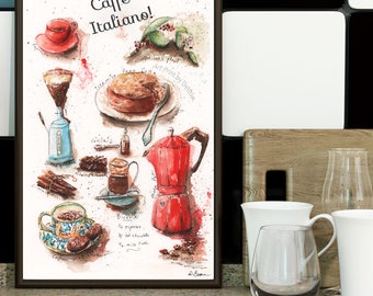Coffee Lover Watercolor Recipe Print, Modern Kitchen Wall Art Gift, Red Italian Cafe Italiano, Large Kitchen Artwork, 8x10, 11x14, 16x20