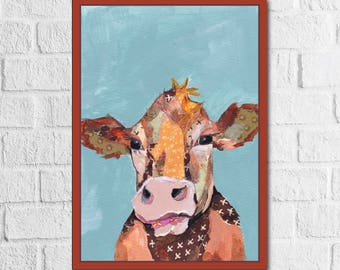 Art Print, Cow Painting, Cow Decor, Modern Farmhouse Decor, Cow Print, Farm Decor, Animal Art, Cow Kitchen, Farm Animal Art