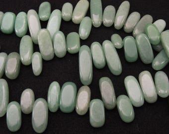 "Natural Green Aventurine Freeform Petal Nuggets Beads 16"" Strand"